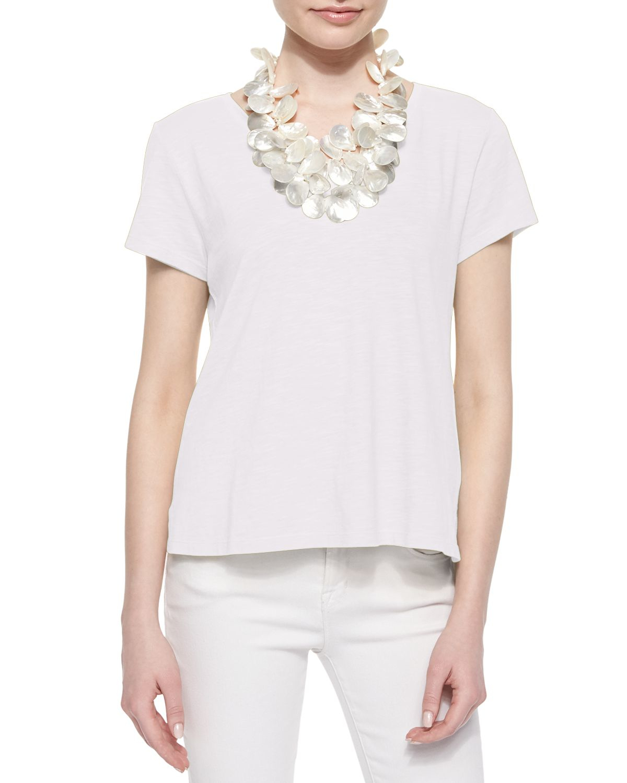 Lyst eileen fisher short sleeve organic cotton tee in white for Eileen fisher organic cotton t shirt