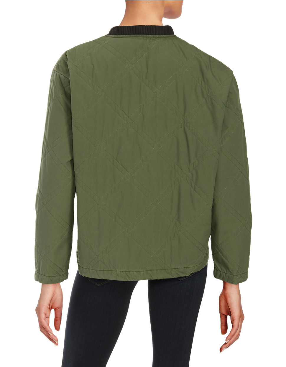 Free People Quilted Cotton Bomber Jacket In Green Lyst