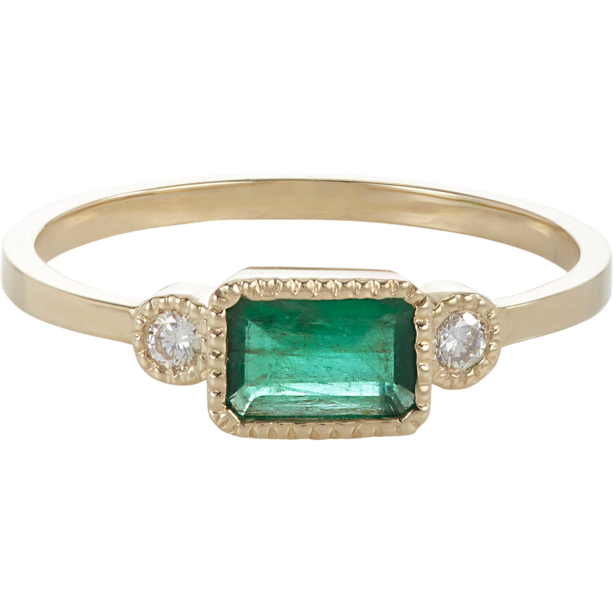 jennie kwon emerald gold ring in metallic