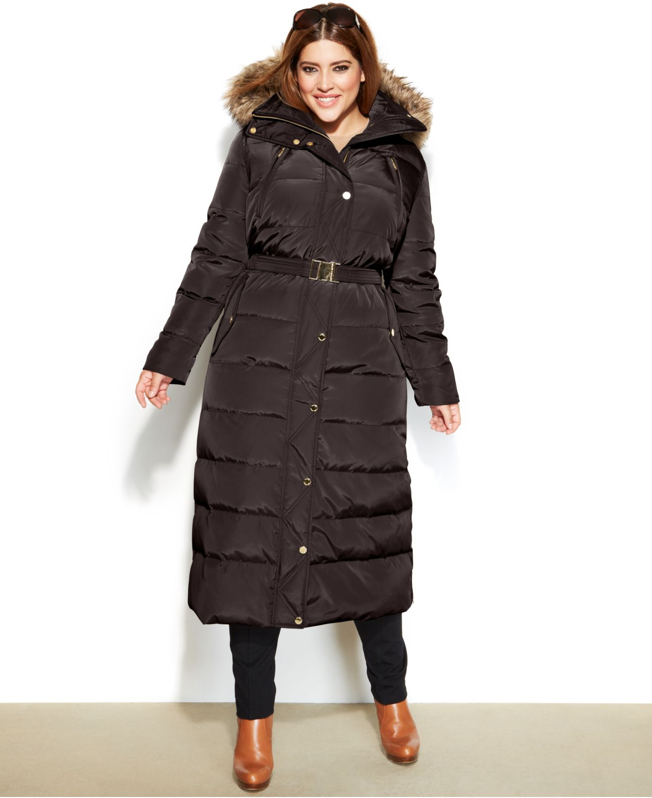 3a151aa561ffc Lyst - Michael Kors Michael Plus Size Hooded Faux-Fur-Trim Belted ...