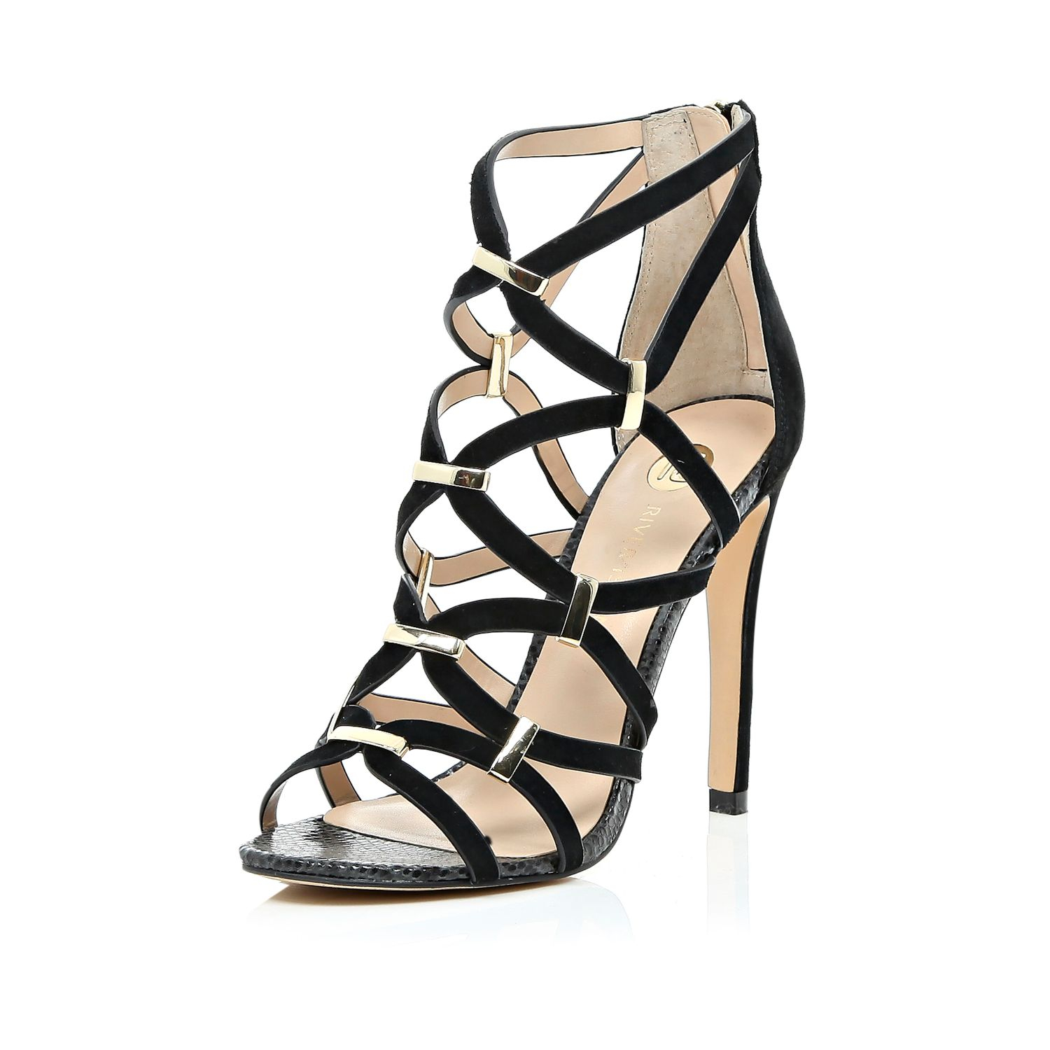 River Island heeled sandals with scallop detail in black discount best place sale Cheapest tYgDcf