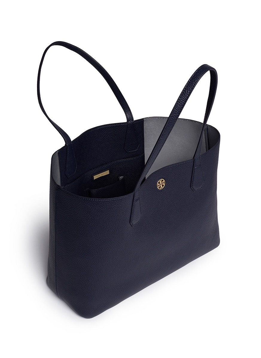 f473c155495 Lyst - Tory Burch  perry  Grainy Leather Tote in Blue