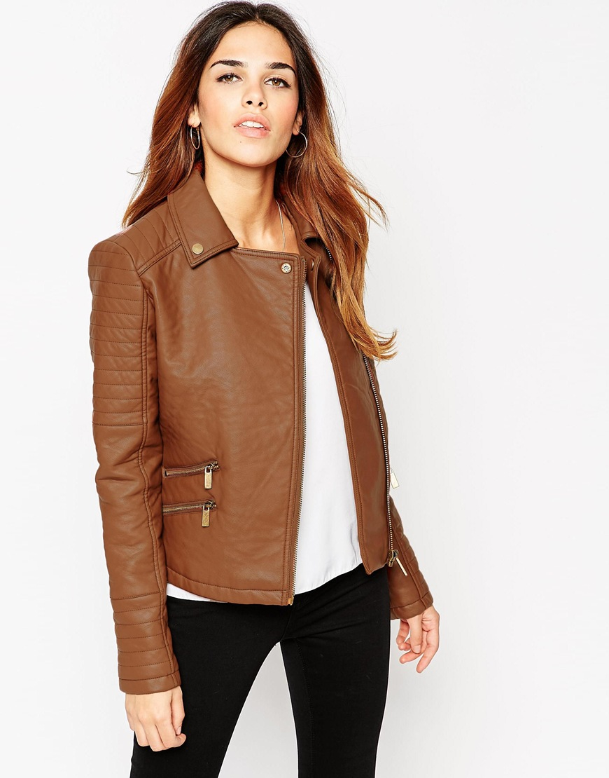 Asos Textured Faux Leather Biker Jacket With Zip Detail in ...