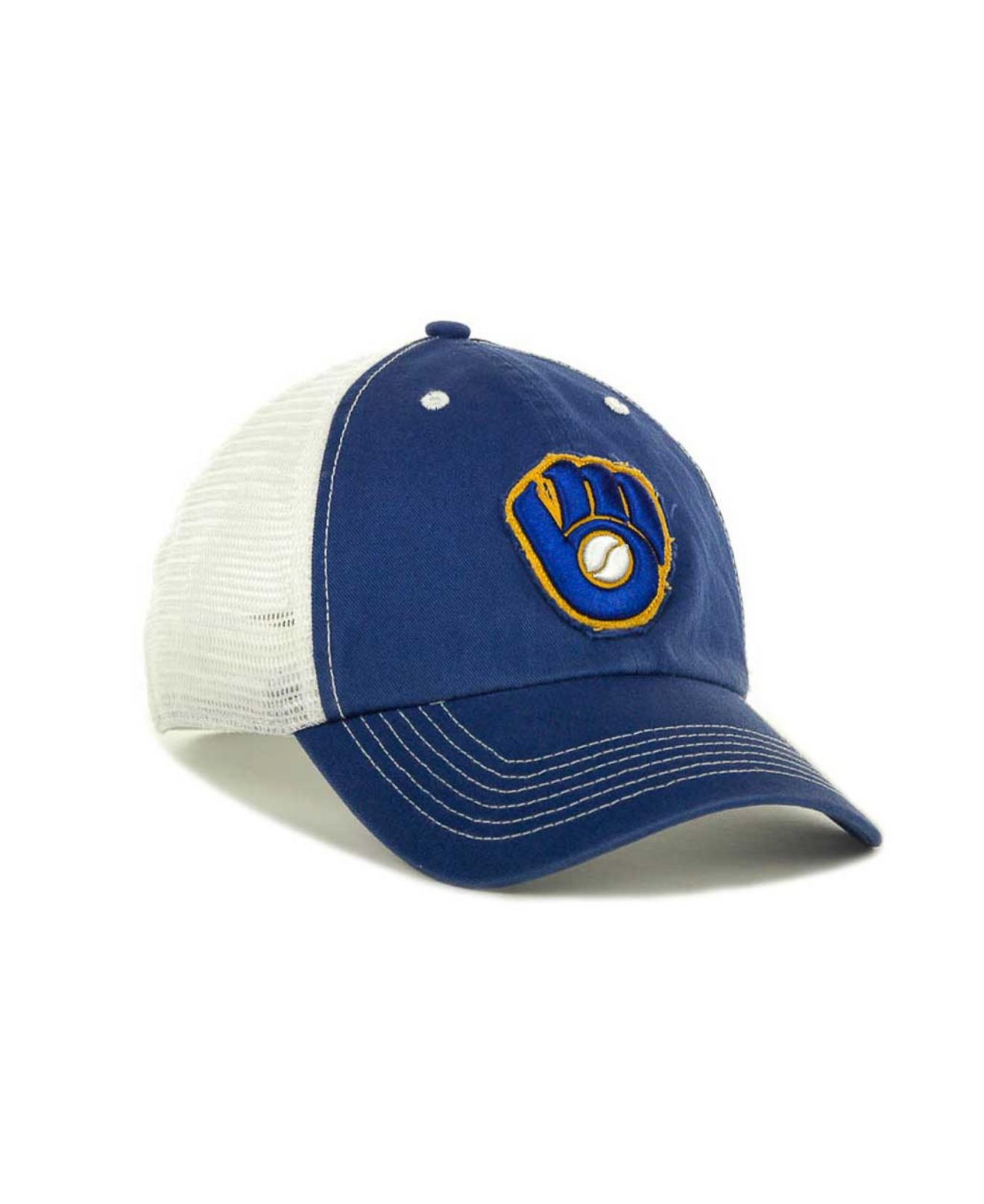 save off 49299 02011 47 Brand Milwaukee Brewers Mlb Blue Mountain Franchise Cap in White ...