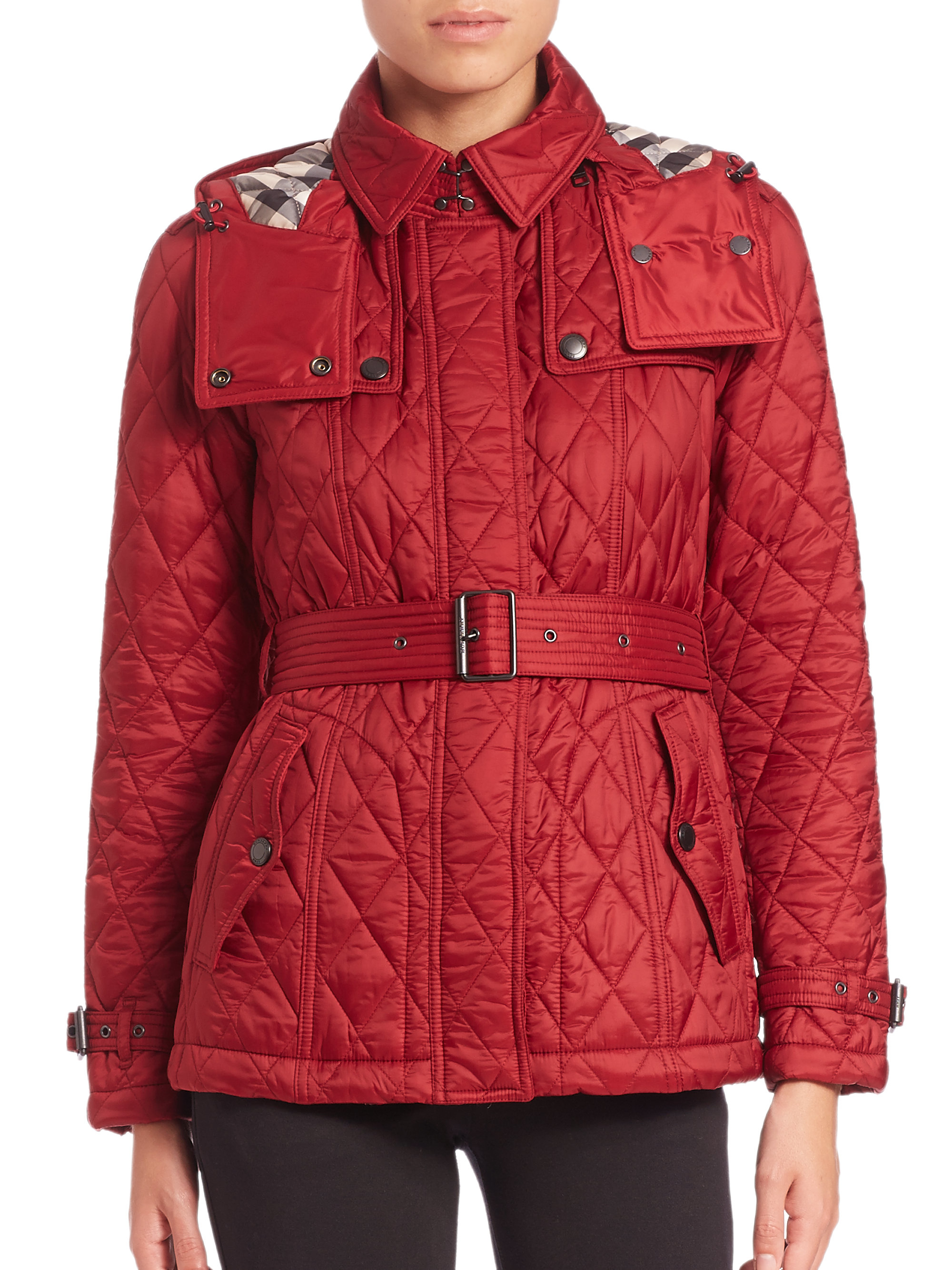 Lyst Burberry Brit Finsbridge Short Quilted Jacket In Red