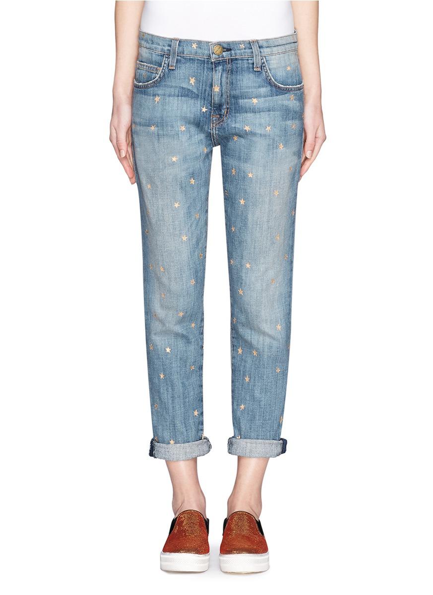 1bcaaf1cd35 Current/Elliott The Fling Metallic Star Print Boyfriend Jeans in ...