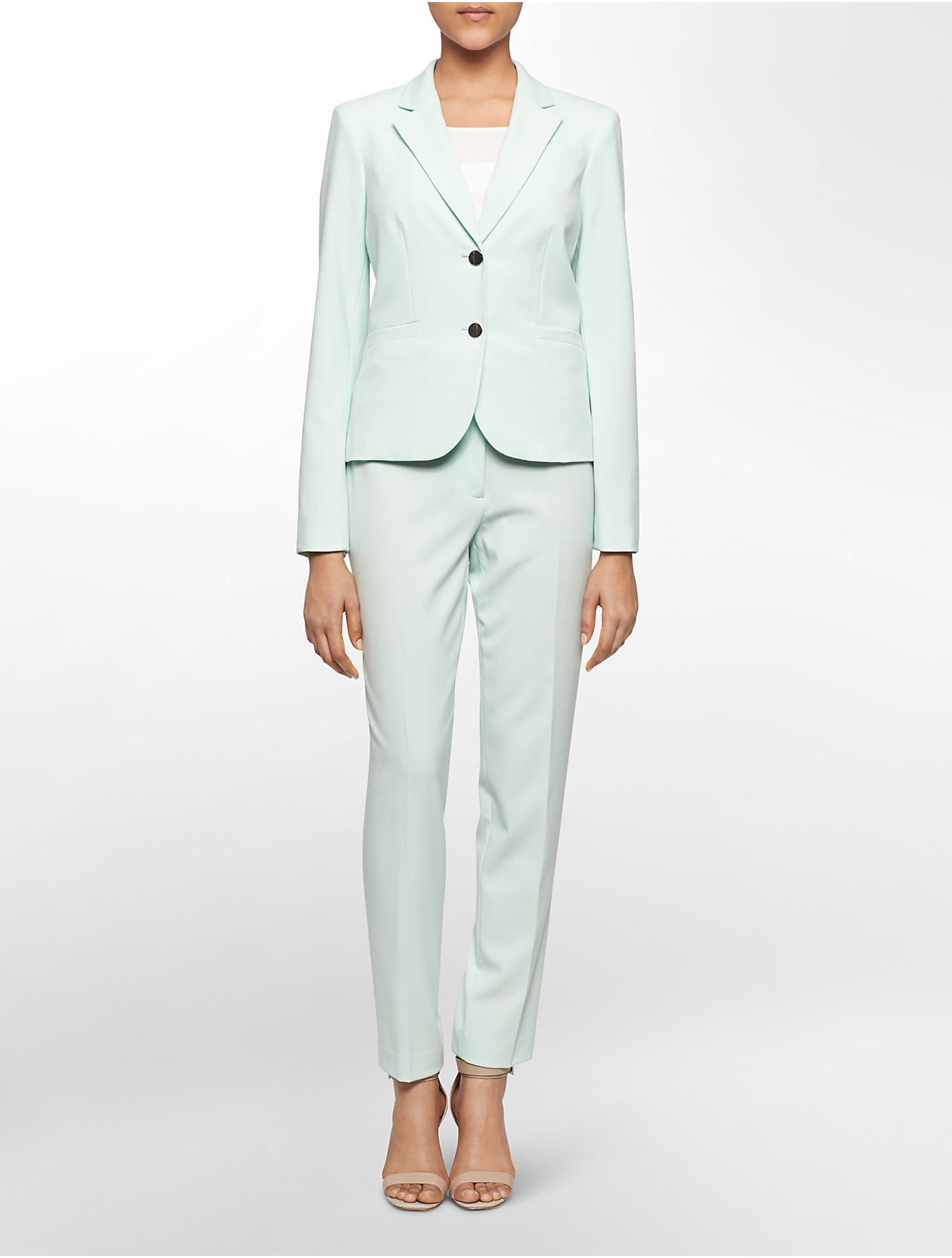 Lyst Calvin Klein Two Button Suit Jacket In Green