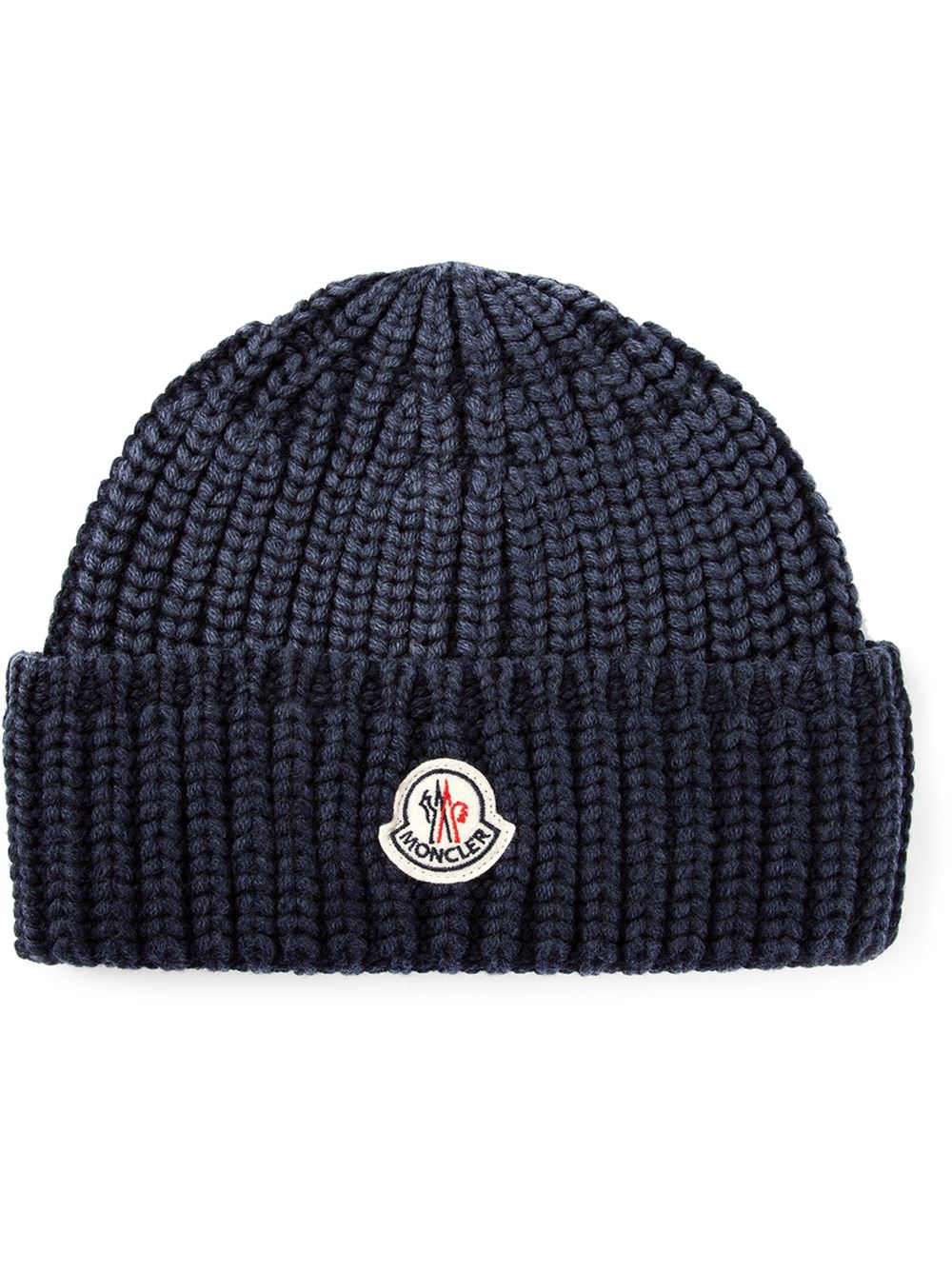 5ccfd749e1f Lyst - Moncler Ribbed Beanie in Blue for Men