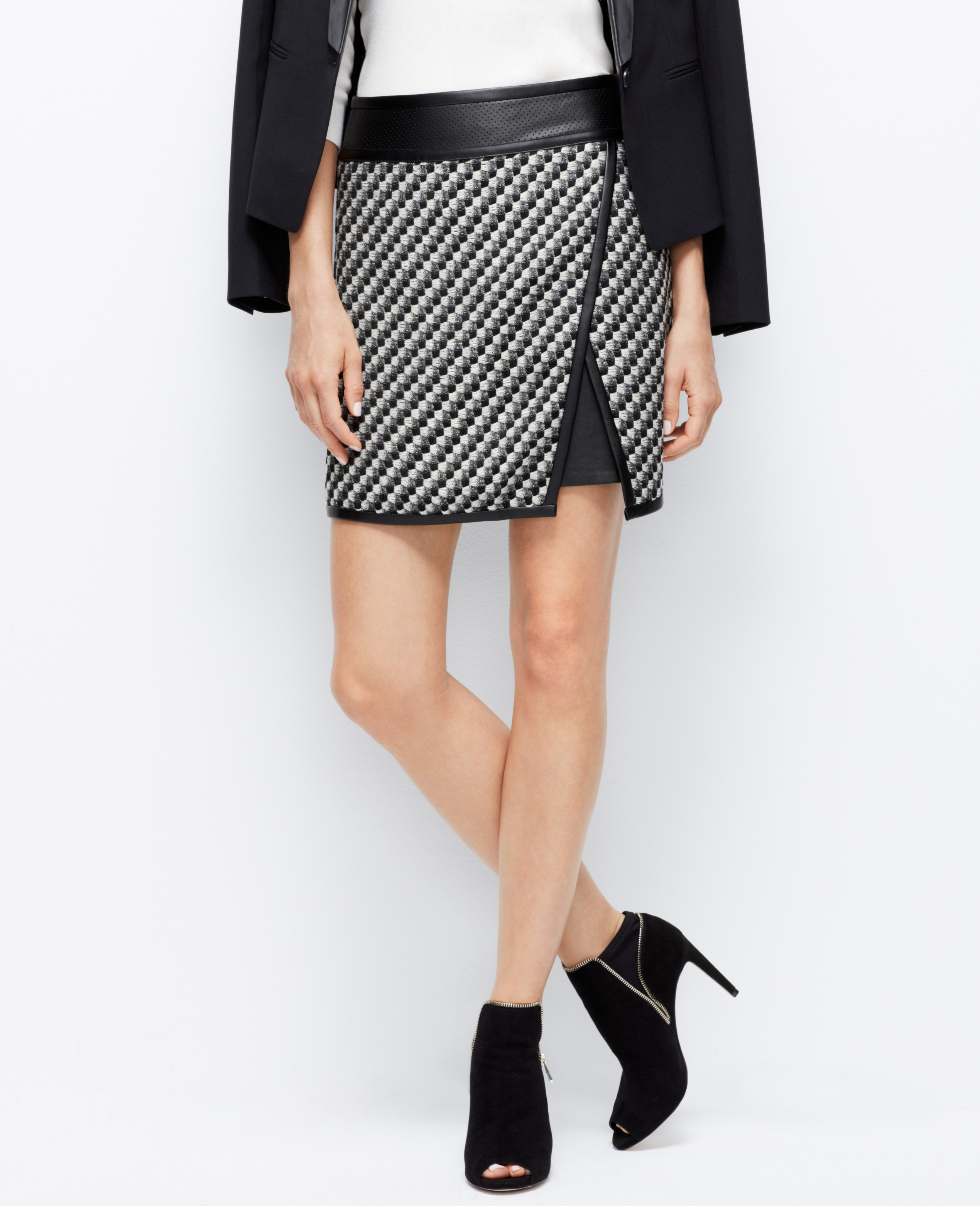 Ann taylor Petite Faux Leather Trim Tweed Skirt in Black | Lyst