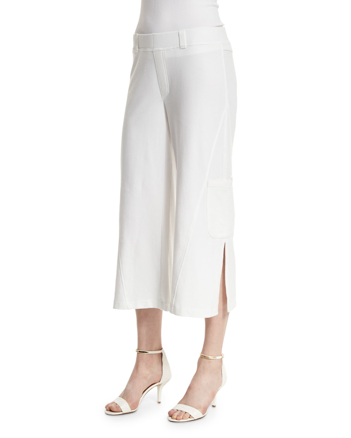 Neon Buddha Raven Wide Leg Cropped Pants In White Lyst