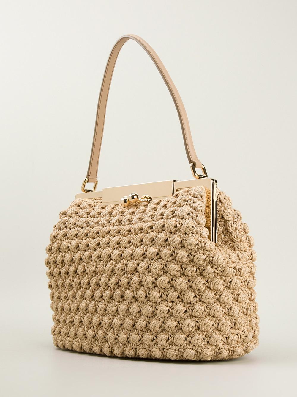 Lyst - Dolce   Gabbana Medium Crochet Bag in Natural a8d80dc6e78b9