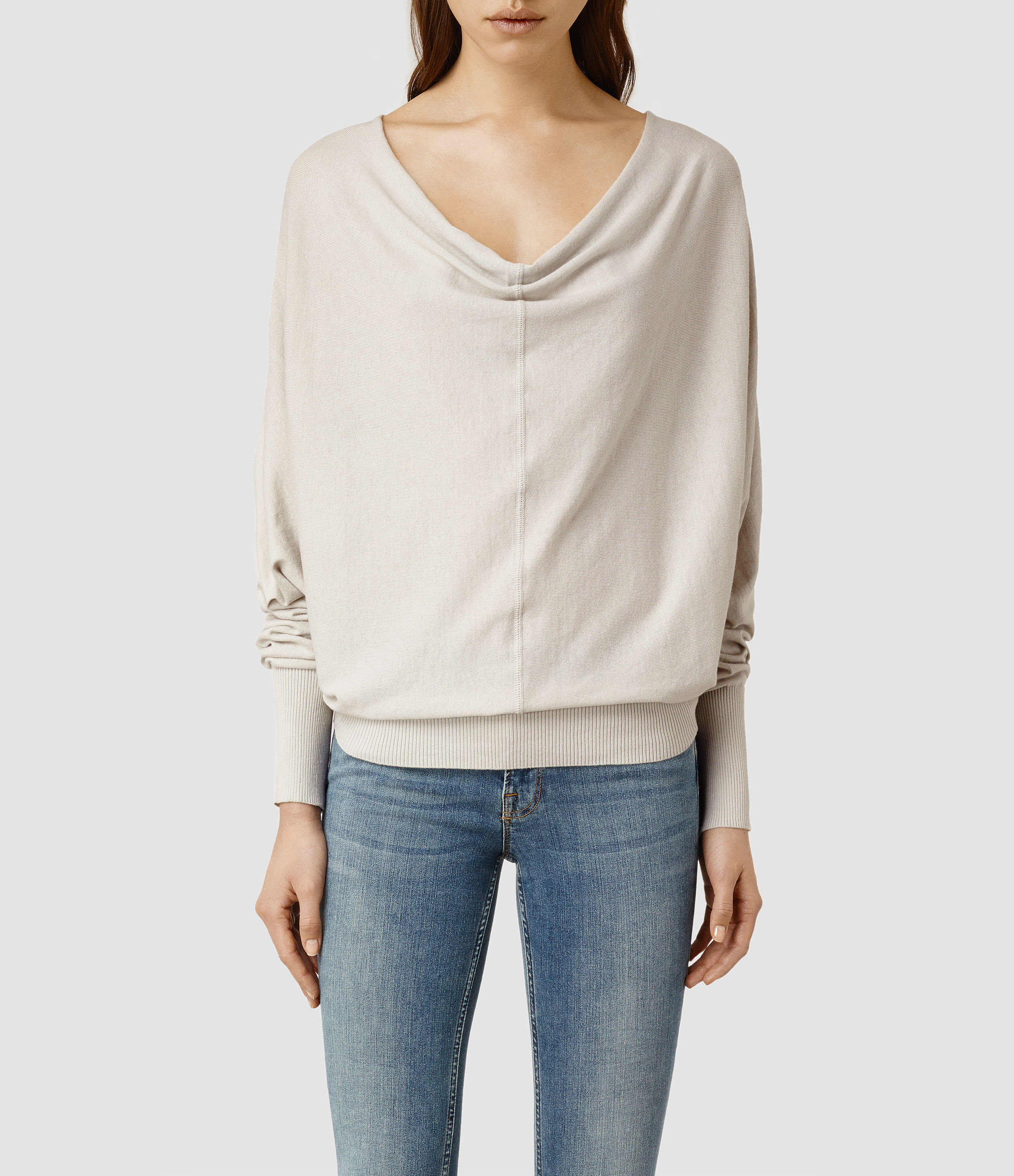 Allsaints Elgar Cowl Neck Sweater Usa Usa in White | Lyst