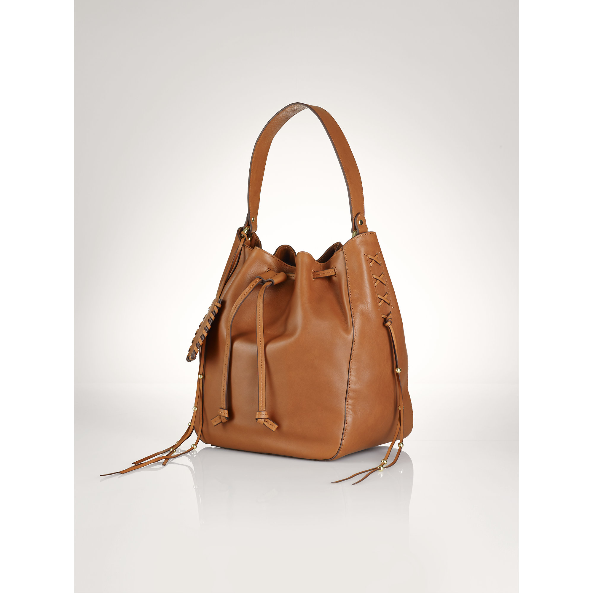 Polo ralph lauren Laced Leather Drawstring Bag in Brown   Lyst