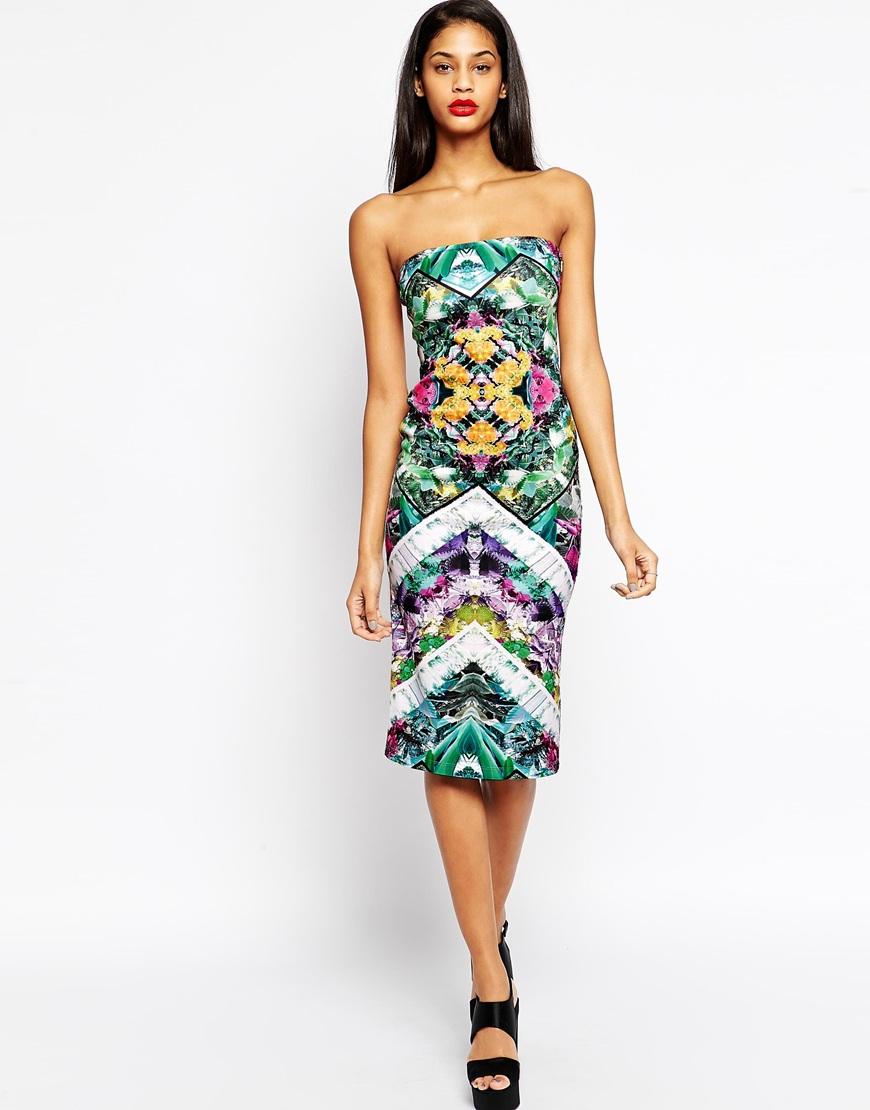 lyst asos floral geometric midi bodycon dress in black