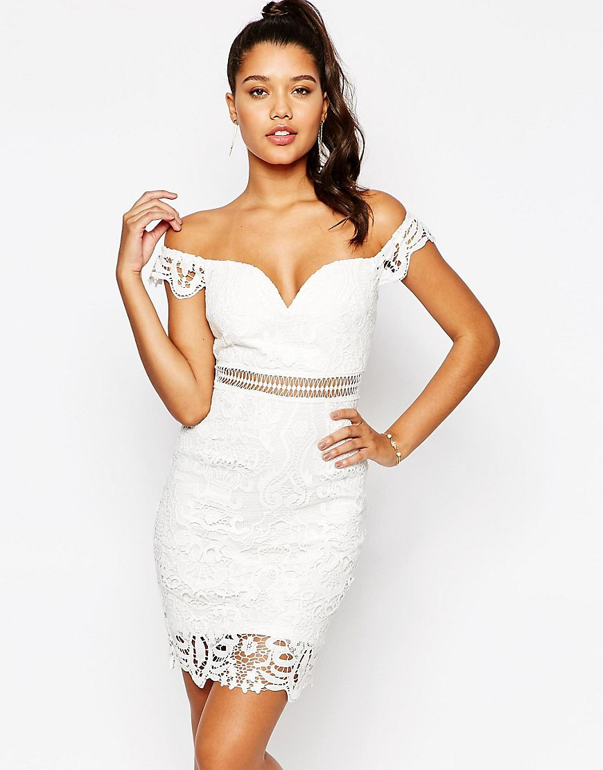 3982732a04 Lyst - Love Triangle Bardot Lace Dress in White