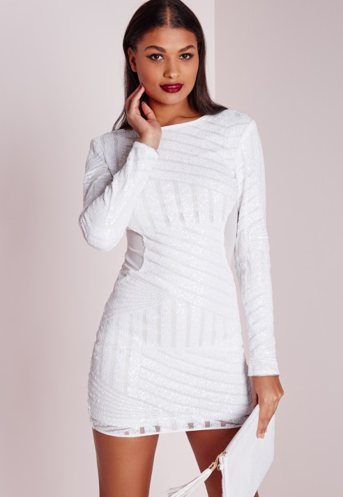 Bodycon white women dress for sleeve long