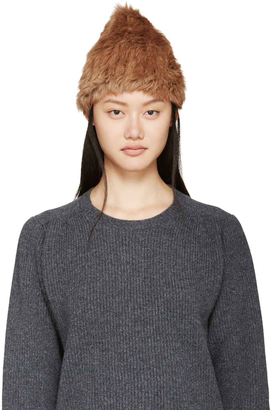 Lyst - Meteo by Yves Salomon Brown Knit Rabbit Fur Toque in Brown c0e8aa82eb9c