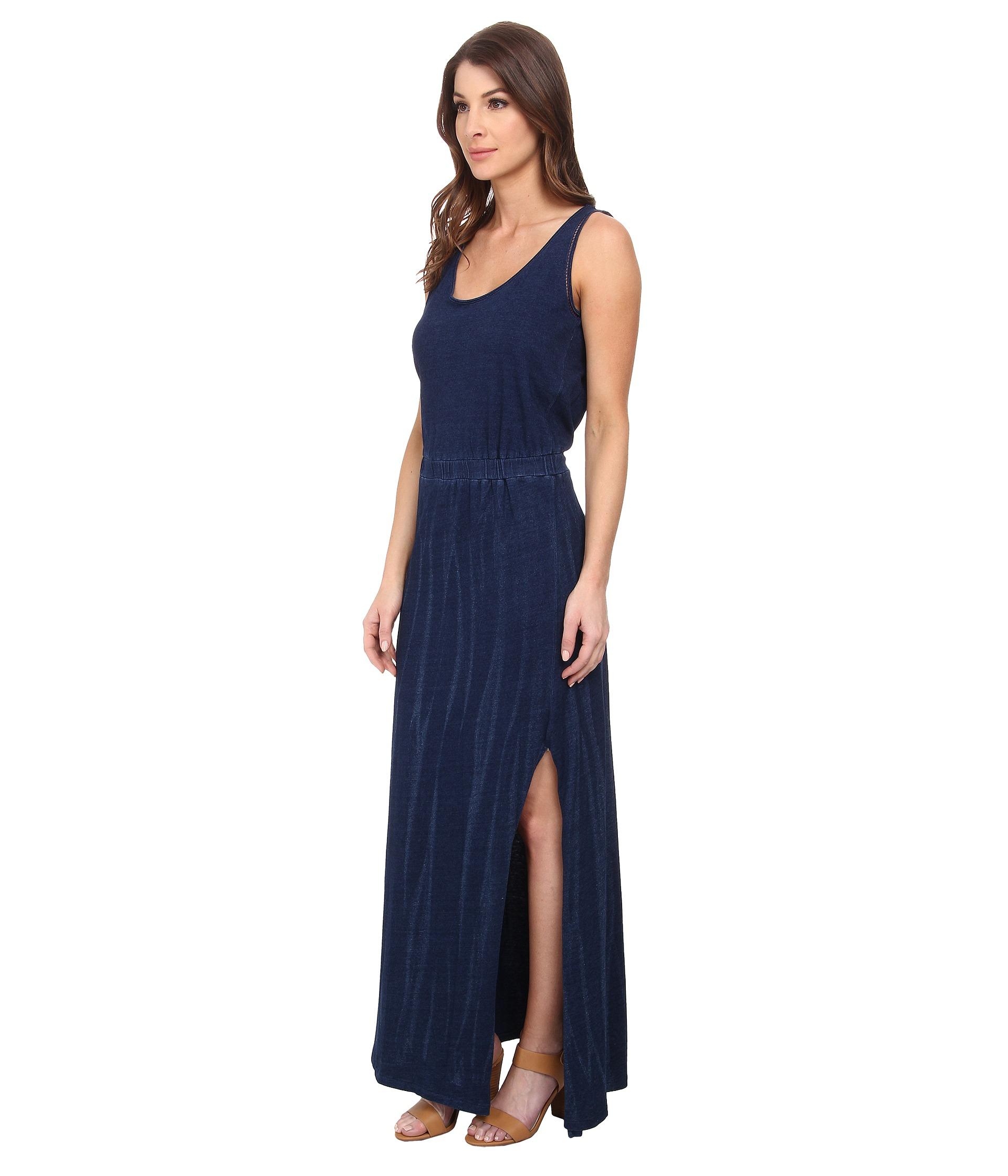 Dkny Knit Denim Maxi Dress With Mesh in Blue  Lyst