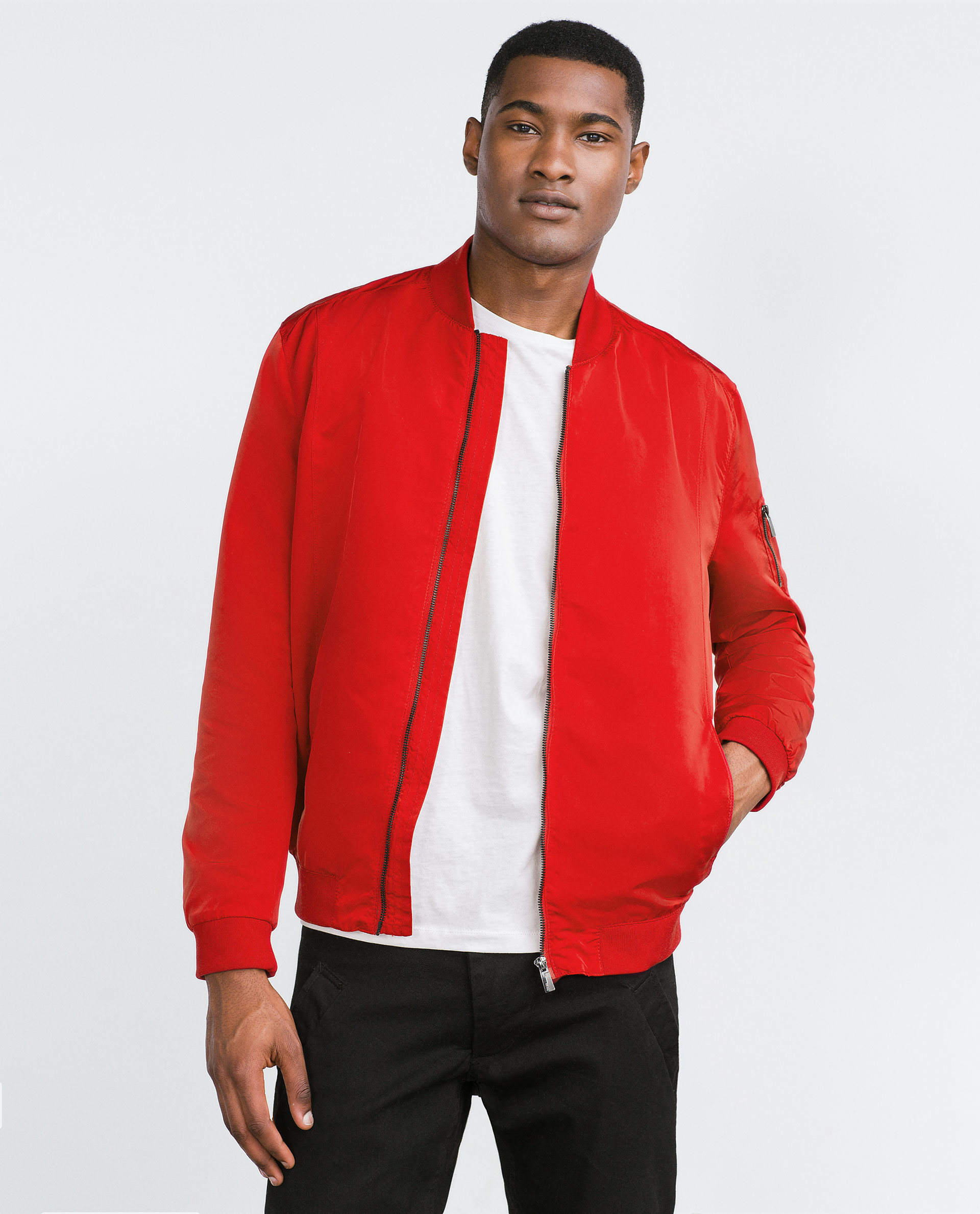 Zara Bomber Style Jacket in Red for Men | Lyst
