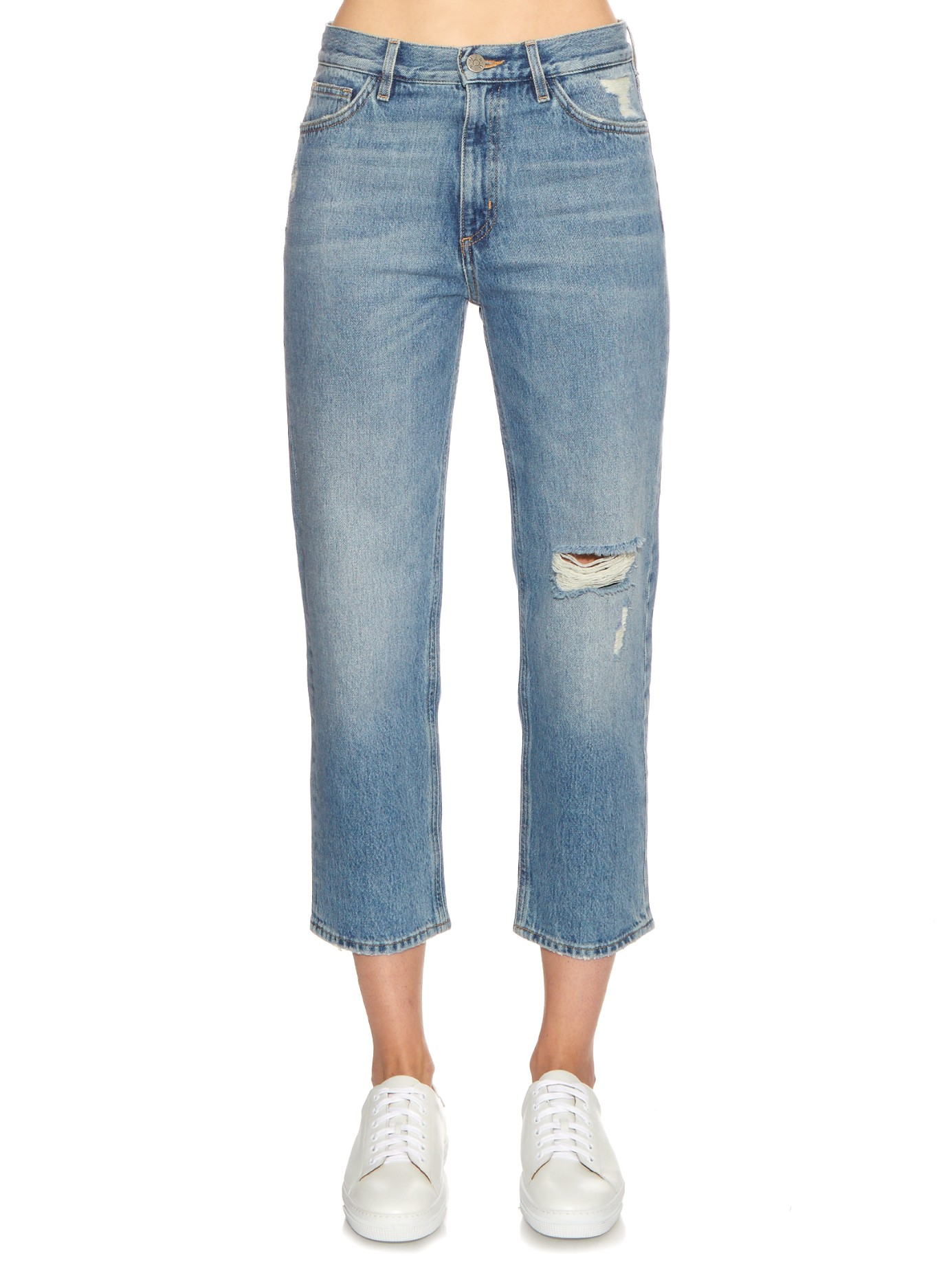 Jeanne High-rise Cropped Distressed Straight-leg Jeans - Blue Mih Jeans Cheap Sale Wholesale Price Qa19Hoh4Z