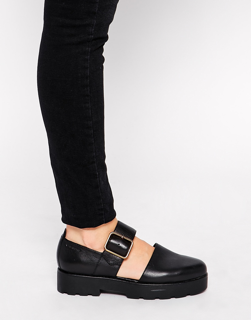 Lyst Vagabond Aurora Leather Two Part Flat Shoes In Black