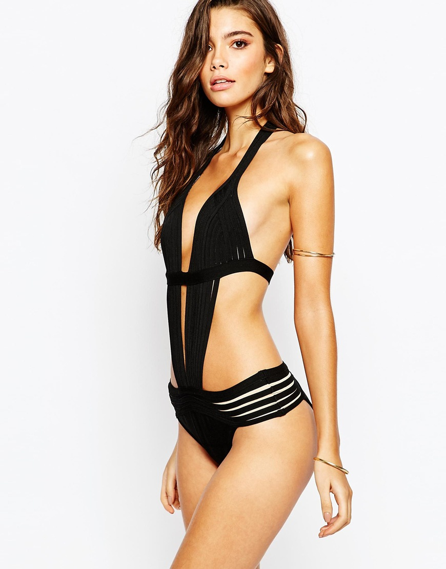 f5b6cb30b0 Lyst - Luxe Lane Bandage Caged Strappy Swimsuit in Black