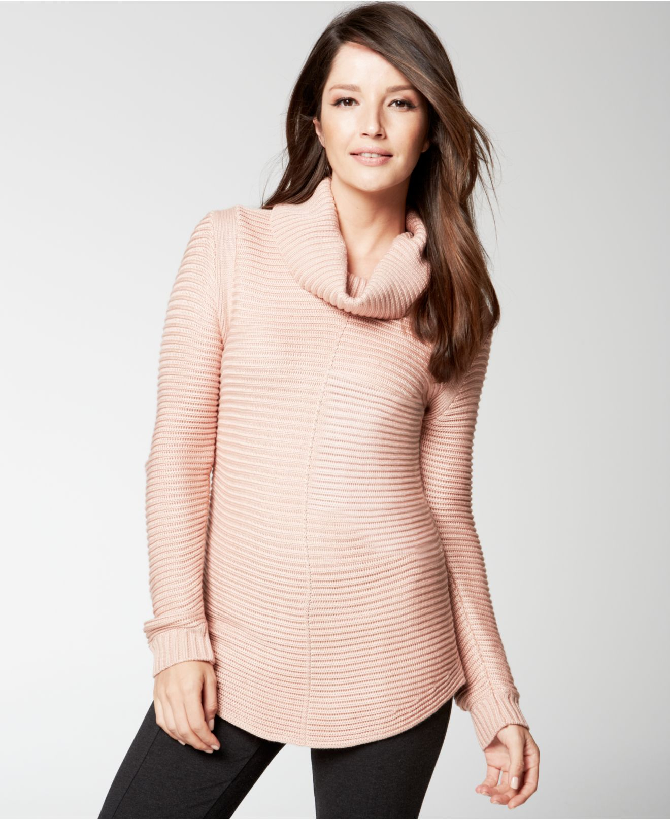 cb979a6a819 Calvin Klein Ribbed Cowl-Neck Sweater in Pink - Lyst
