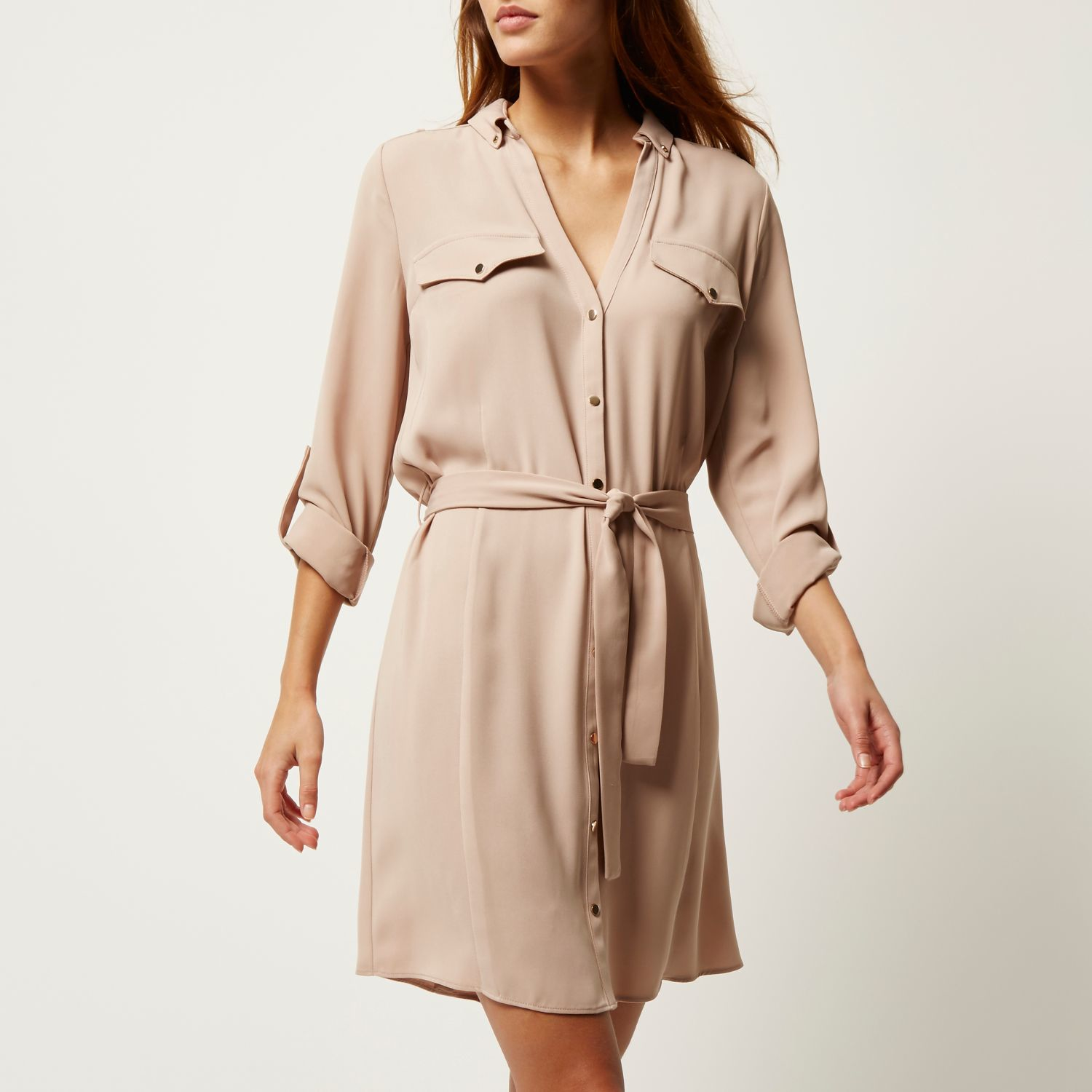 72288ac9512 River Island Beige Crepe Military Shirt Dress in Natural - Lyst