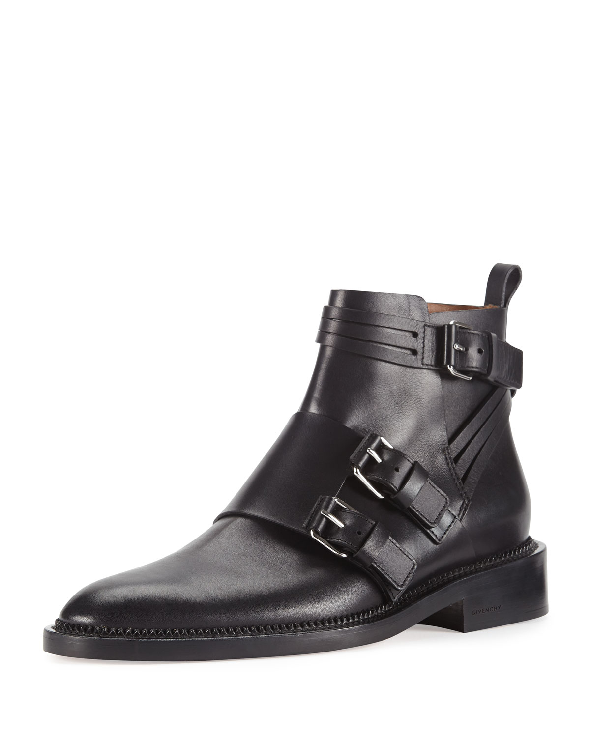 Black monk strap leather ankle boots Givenchy tPmgmkoZ