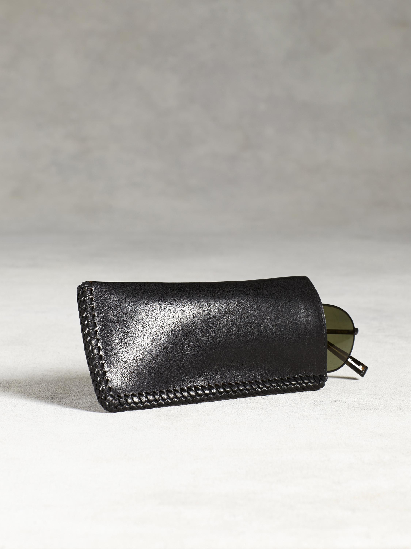 John Varvatos Braided Leather Eyeglass Case In Black For