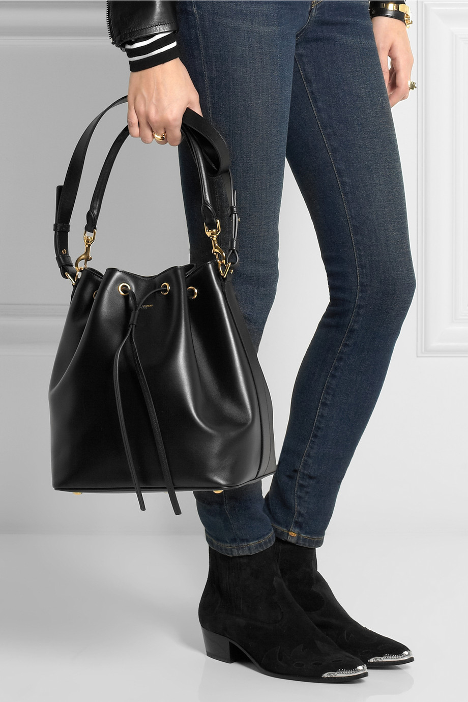 yves saint laurent leather handbag - yves saint laurent medium emmanuel bucket bag, yves saint laurent ...