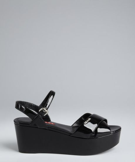 Prada Sport Black Patent Leather Platform Sandals In Black