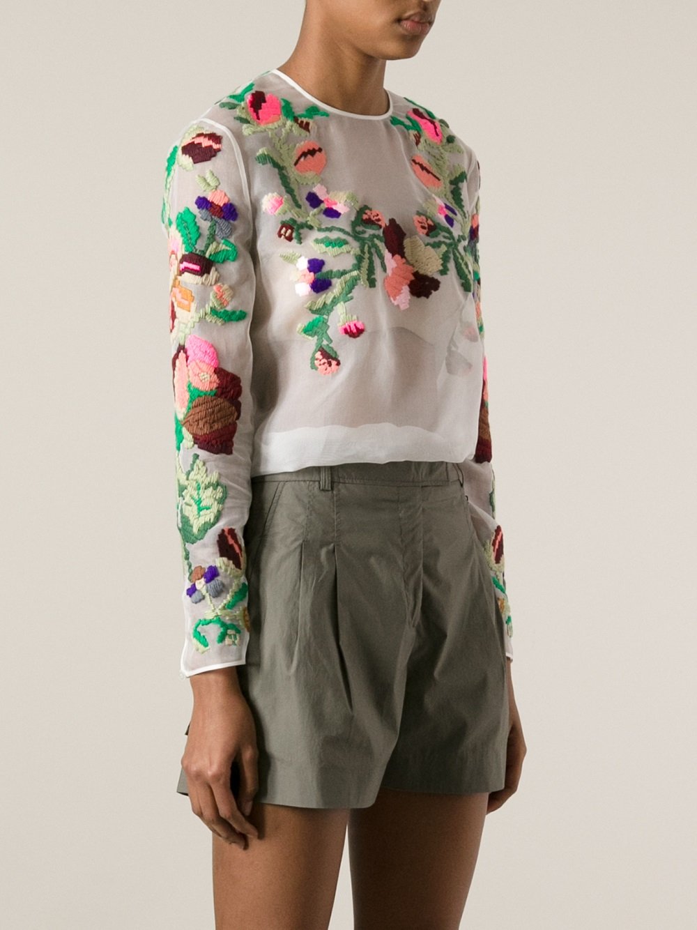 494af3b526d158 Lyst - Valentino Floral Embroidered Top in White