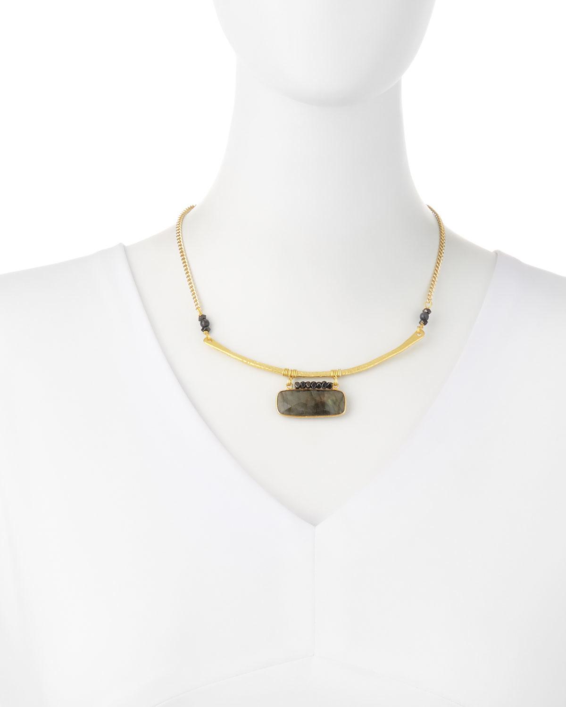 Nakamol Beaded Labradorite & Agate Pendant Necklace xC966Nms