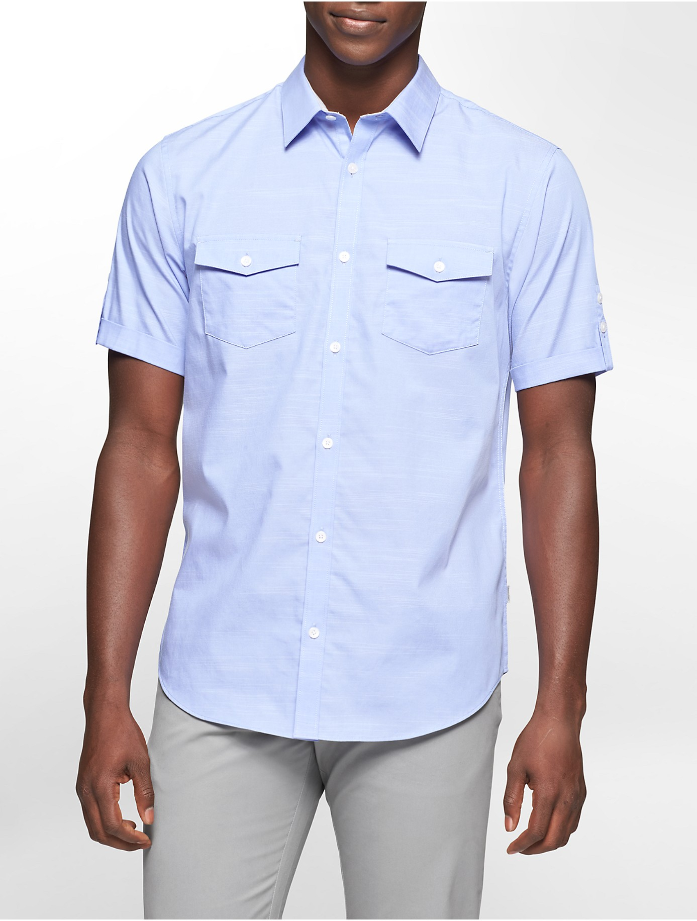 Calvin klein blue white label classic fit double pocket for Mens double pocket short sleeve shirts