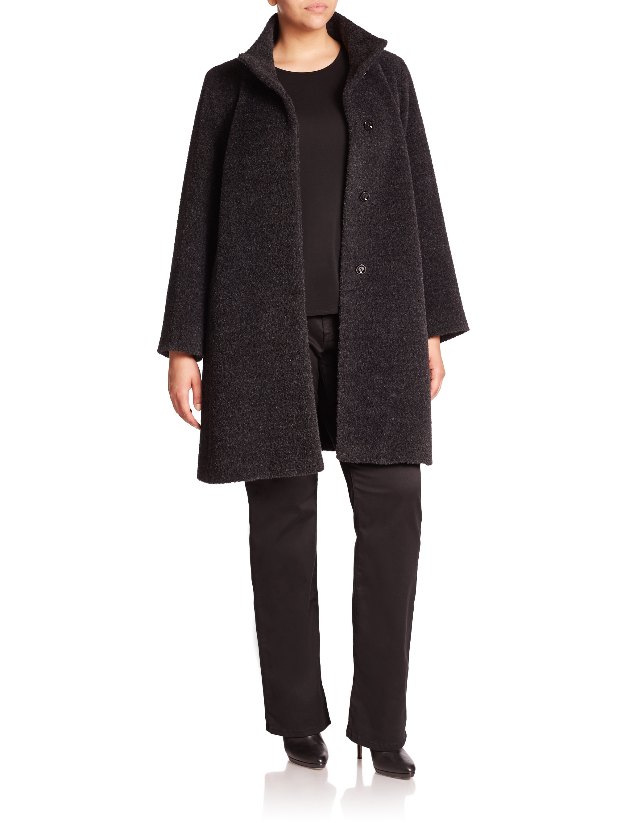 Cinzia rocca Wool & Angora Walking Coat in Gray | Lyst