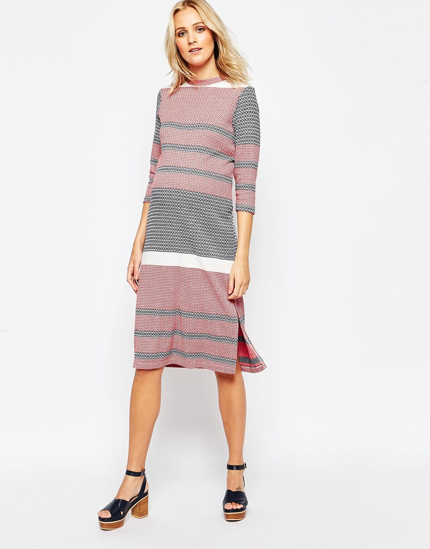 1a146facb2cef ASOS Maternity Column Midi Dress In Knitted Coloured Stripe in Pink ...