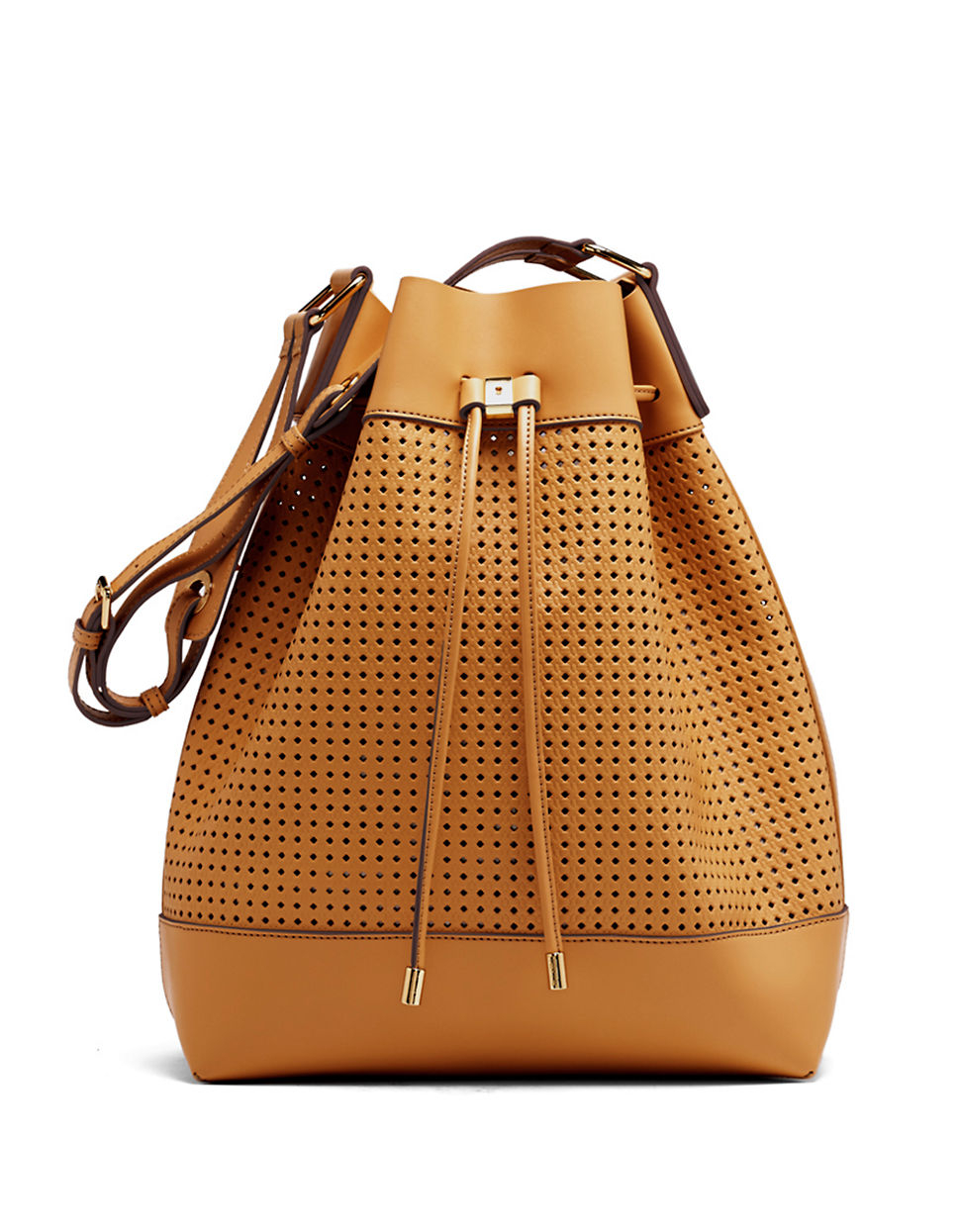 Vince camuto Colby Perforated Leather Drawstring Bag in Brown | Lyst