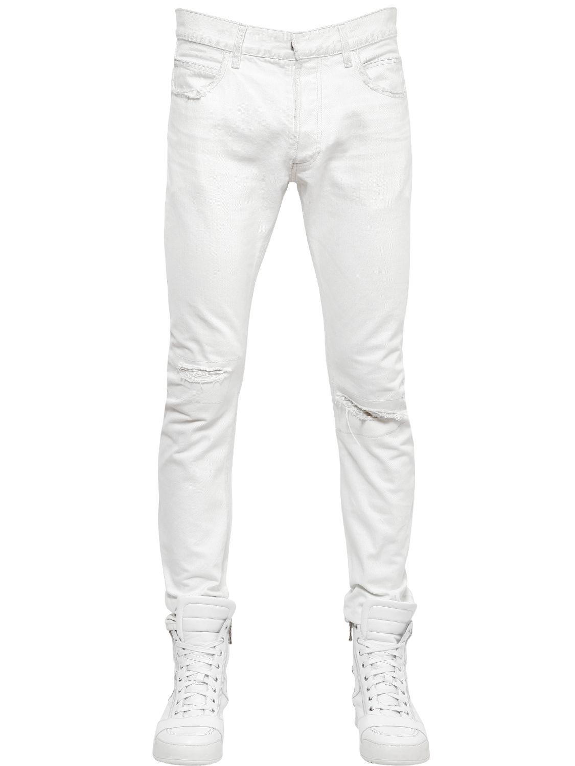 Lyst Balmain 17cm Washed Ripped Cotton Denim Jeans In