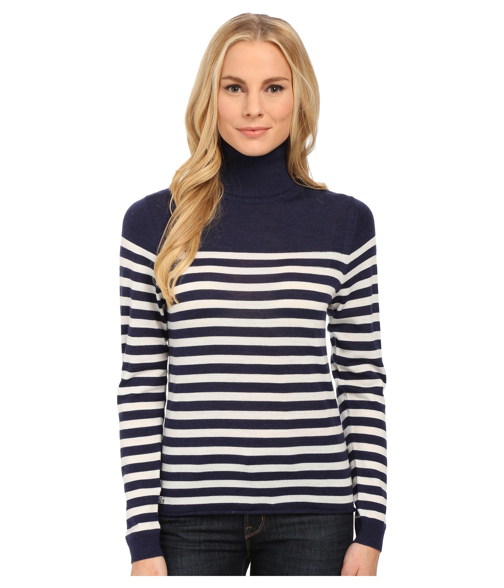 Lacoste Long Sleeve Placement Stripe Wool Turtleneck Sweater in ...