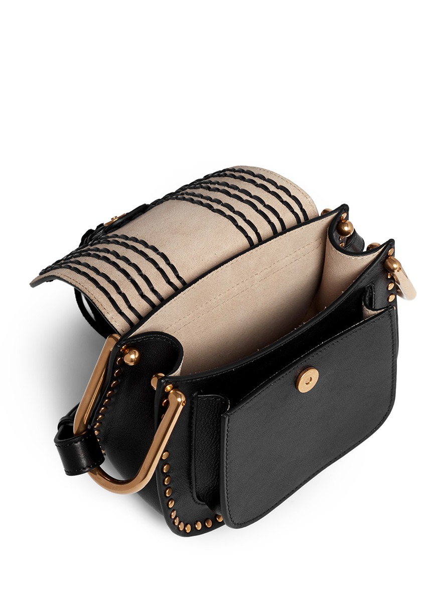 white chloe handbag - Chlo�� \u0026#39;hudson\u0026#39; Mini Stud Braided Leather Bag in Black | Lyst