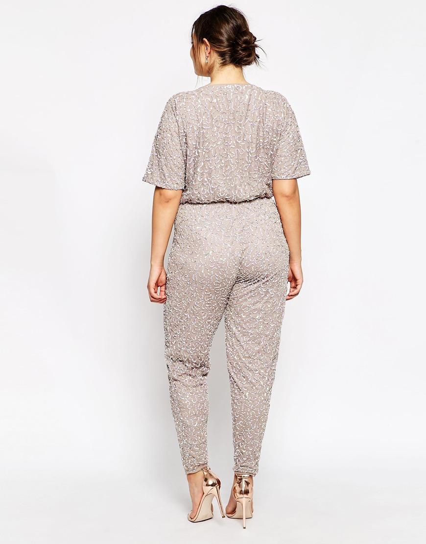 b62350e38444 Lyst - ASOS Curve Premium Kimono Jumpsuit In Sequins in Gray