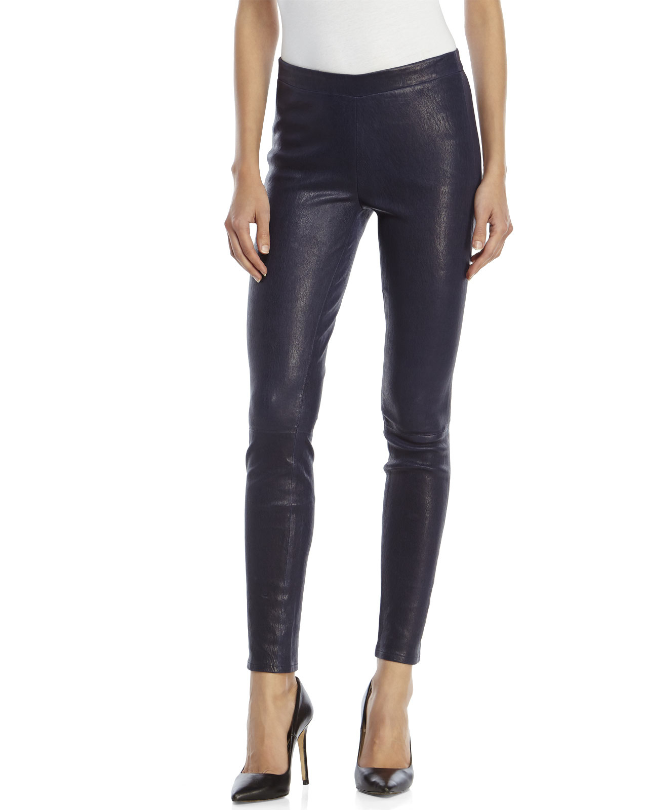 J brand Navy Mid-Rise Leather Leggings in Blue | Lyst