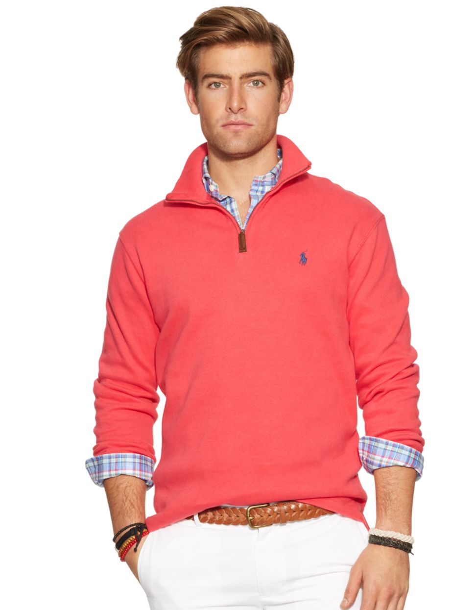 polo ralph lauren french rib mockneck pullover in red for. Black Bedroom Furniture Sets. Home Design Ideas