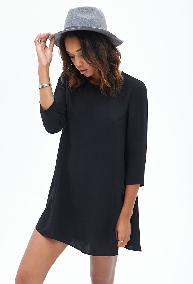 Forever 21 Long-sleeved Shift Dress in Black | Lyst