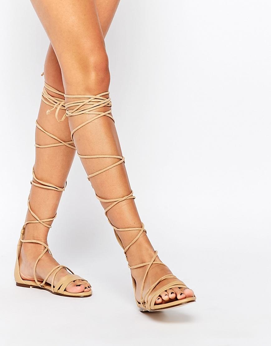 Beige Gladiator Heels