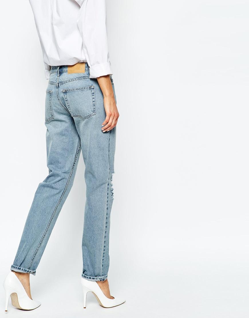 Cheap monday Thrift Destroyed Boyfriend Jeans in Blue   Lyst