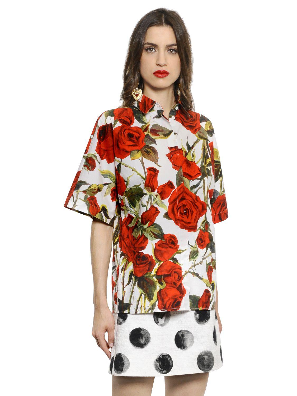 9cecc943a461e Lyst - Dolce   Gabbana Rose Printed Cotton Poplin Shirt