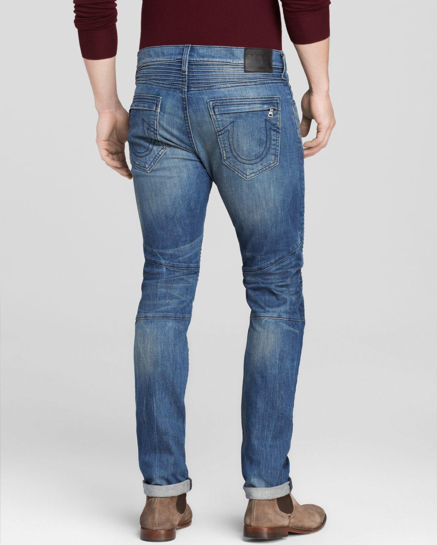 db1682d545cc Lyst - True Religion Jeans - Distressed Rocco Moto Slim Fit In Rough ...