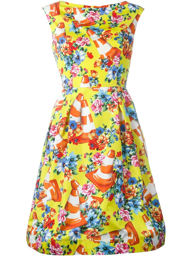 Lyst moschino floral and traffic cone dress gallery mightylinksfo